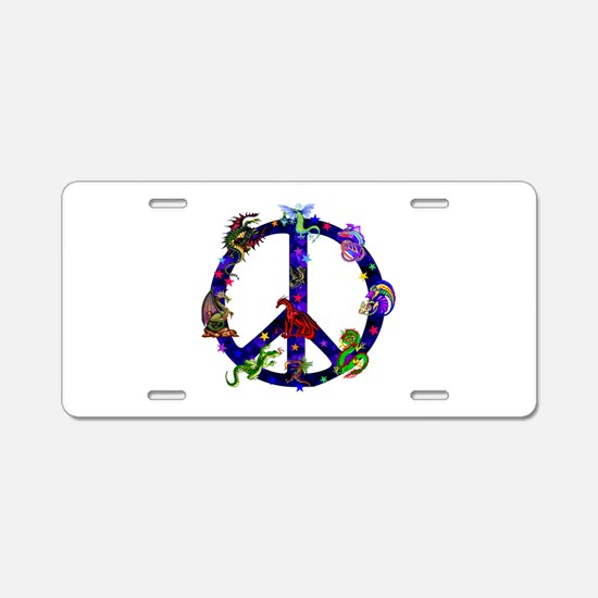 Dragons Peace Sign Aluminum License Plate