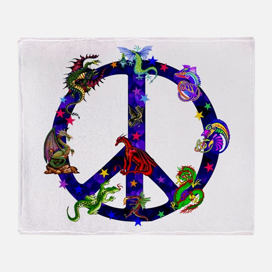 Dragons Peace Sign Throw Blanket