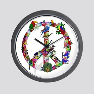 Colorful Birds Peace Sign Wall Clock