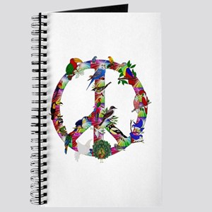 Colorful Birds Peace Sign Journal