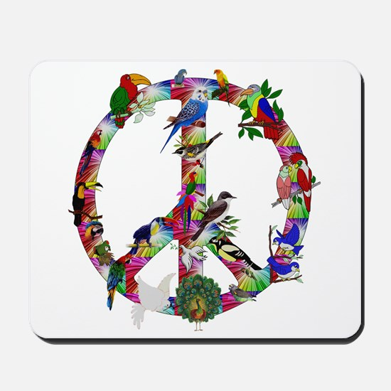 Colorful Birds Peace Sign Mousepad