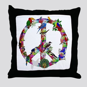 Colorful Birds Peace Sign Throw Pillow