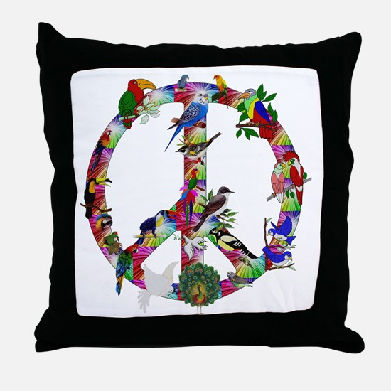 Colorful Birds Peace Sign Throw Pillow