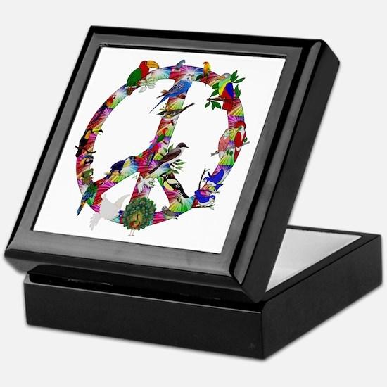 Colorful Birds Peace Sign Keepsake Box