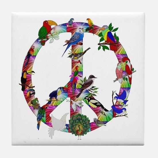 Colorful Birds Peace Sign Tile Coaster
