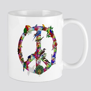 Colorful Birds Peace Sign Mug