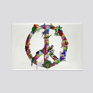 Colorful Birds Peace Sign Rectangle Magnet