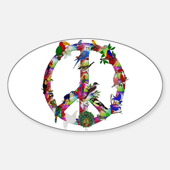 Colorful Birds Peace Sign Sticker (Oval)