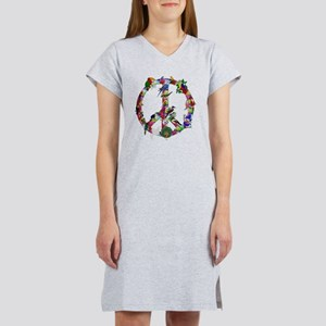Colorful Birds Peace Sign Women's Nightshirt