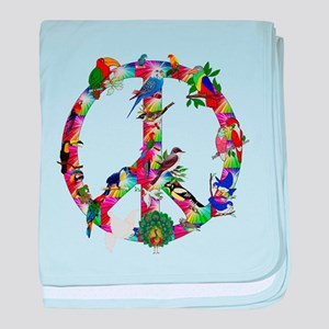 Colorful Birds Peace Sign baby blanket