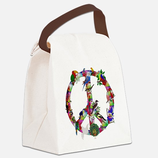 Colorful Birds Peace Sign Canvas Lunch Bag