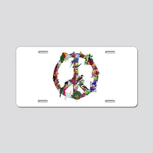 Colorful Birds Peace Sign Aluminum License Plate
