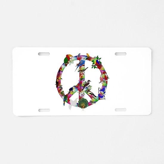 Colorful Birds Peace Sign Aluminum License Plate