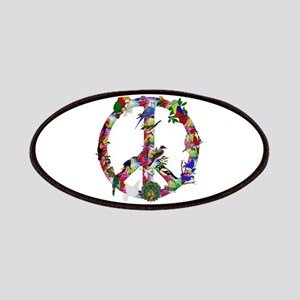 Colorful Birds Peace Sign Patches