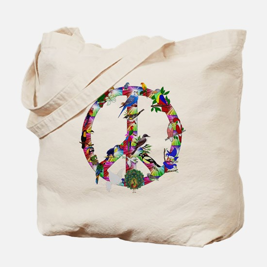 Colorful Birds Peace Sign Tote Bag