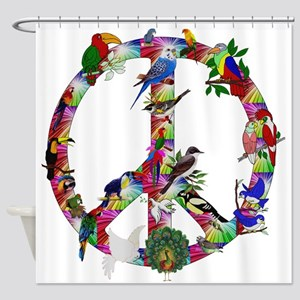 Colorful Birds Peace Sign Shower Curtain