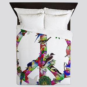 Colorful Birds Peace Sign Queen Duvet