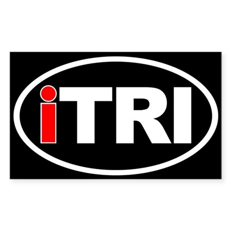 Triathlon iTRI Ironman Oval Euro Sticker Black Sti