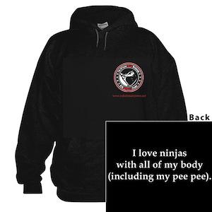 I Love Ninjas Black Hooded Sweatshirt