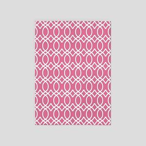 Medium Rose Pink Ogee Pattern 5'x7'Area Rug