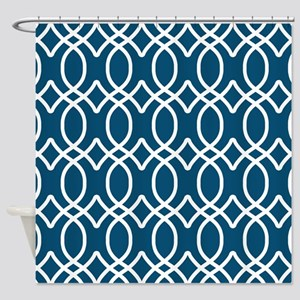 Nautical Blue Ogee Pattern Shower Curtain