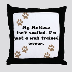 Well Trained Maltese Owner Throw Pillow
