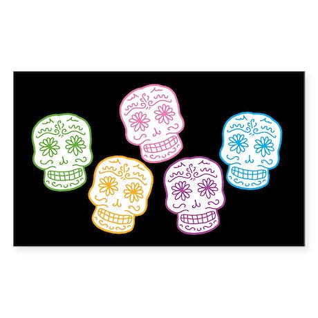 Colorful Sugar Skulls Sticker (Rectangle)