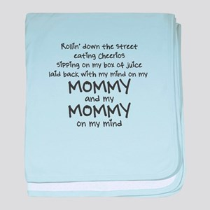 rollin-down-the-street-pin-black baby blanket