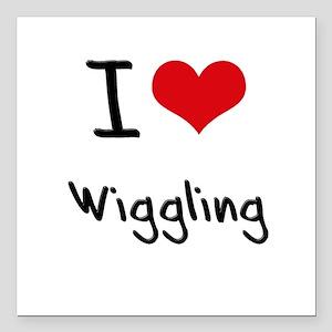 "I love Wiggling Square Car Magnet 3"" x 3"""