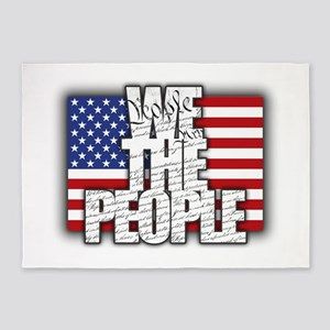 WE THE PEOPLE with Flag 5'x7'Area Rug