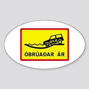Unbridged River - Iceland Oval Sticker