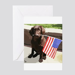 4th of July Puppy too Greeting Card