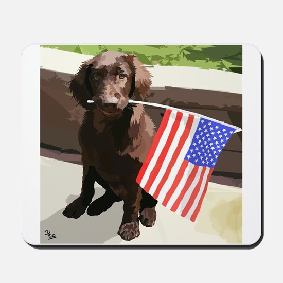 4th of July Puppy too Mousepad