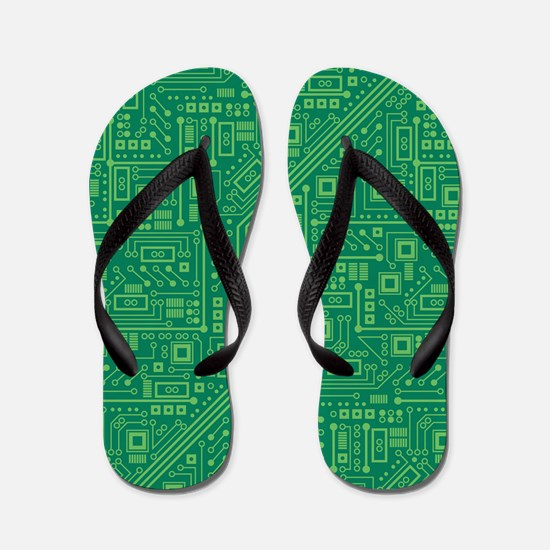 Green Circuit Board Flip Flops
