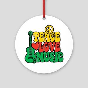 Reggae Peace Love Music Ornament (Round)
