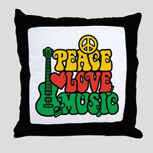 Reggae Peace Love Music Throw Pillow