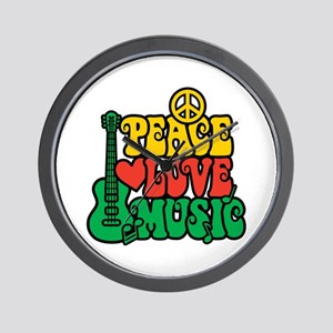 Reggae Peace Love Music Wall Clock