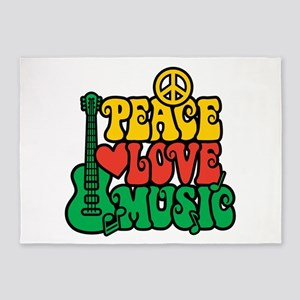 Reggae Peace Love Music 5'x7'Area Rug