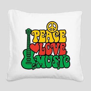 Reggae Peace Love Music Square Canvas Pillow
