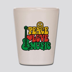 Reggae Peace Love Music Shot Glass