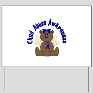 CHILD ABUSE AWARENESS WITH TEDDY BEAR Yard Sign