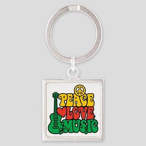 Reggae Peace Love Music Keychains