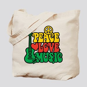 Reggae Peace Love Music Tote Bag