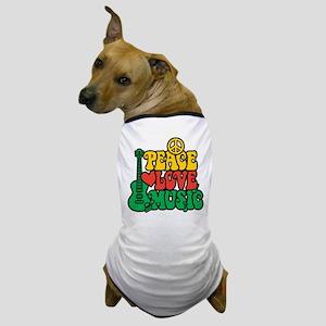 Reggae Peace Love Music Dog T-Shirt