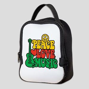 Reggae Peace Love Music Neoprene Lunch Bag