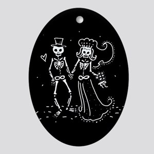Skeleton Bride And Groom Ornament (Oval)