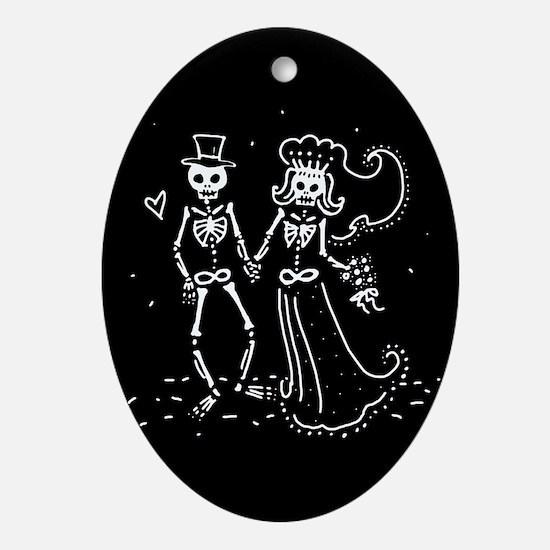 Skeleton Bride And Groom Ornament (Oval)