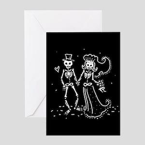 Skeleton Bride And Groom Greeting Card