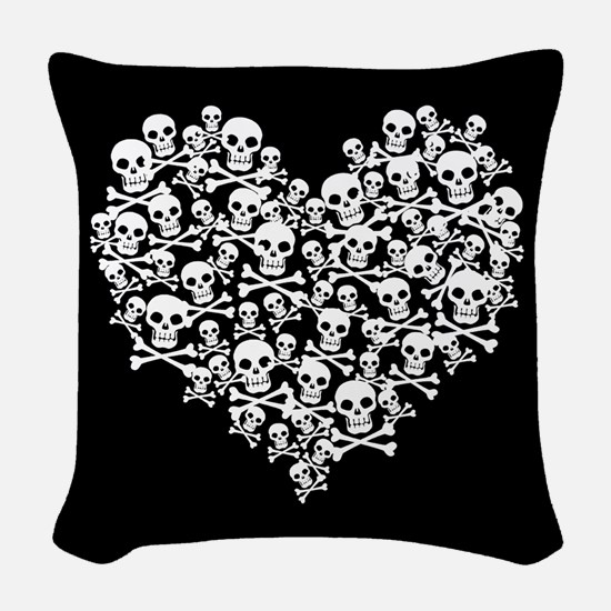 Skull Heart Woven Throw Pillow