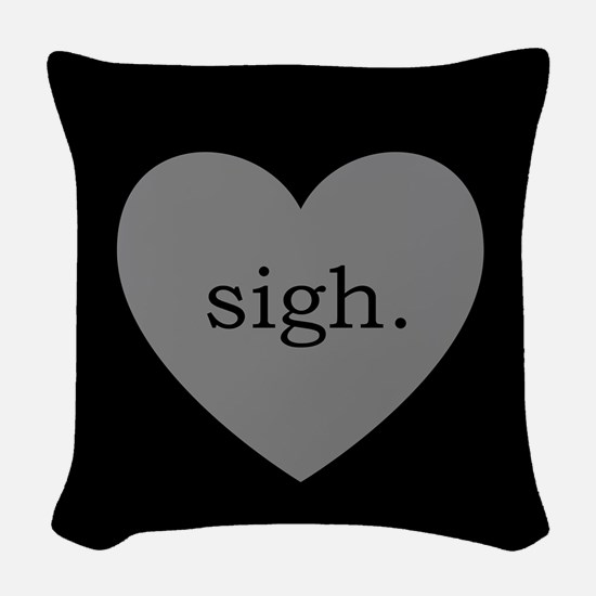 Grey Heart Sigh Woven Throw Pillow